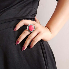Banjara Collection - Red Flower Ring