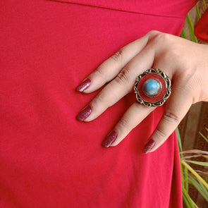 Banjara Collection - Red & Blue Ring
