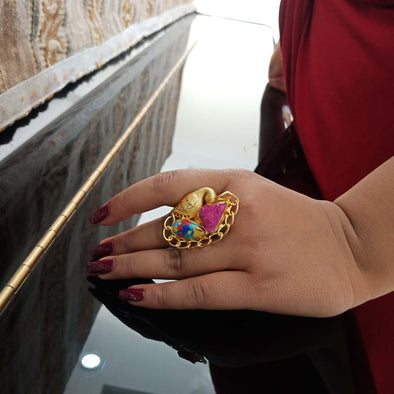 Banjara Collection -Pink Peacock Ring
