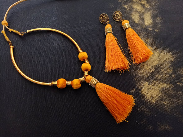 Silk thread necklace with Tassels