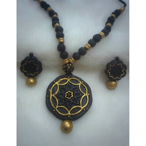Black Gold Necklace and Earrings Set
