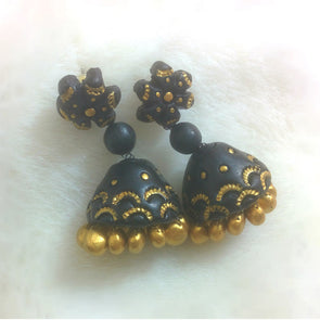 Black - Gold Jhumka Earrings