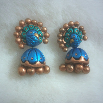 Blue Gold Jhumka Parrot Earrings