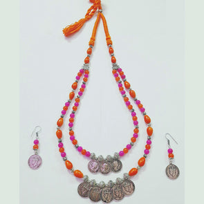 Gini Orange Glass Beads Necklace
