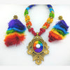 Silk Thread - Long Necklace Set - Rainbow Colour