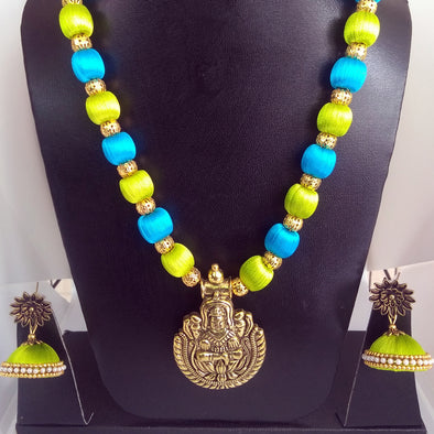 Antique Gold Necklace set finished with Silk Thread Beads
