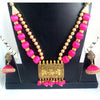 Antique Gold Necklace with Pink Silk Thread Beads