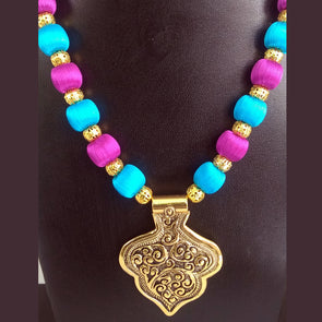 Antique Pendant Necklace  with Silk Thread Beads