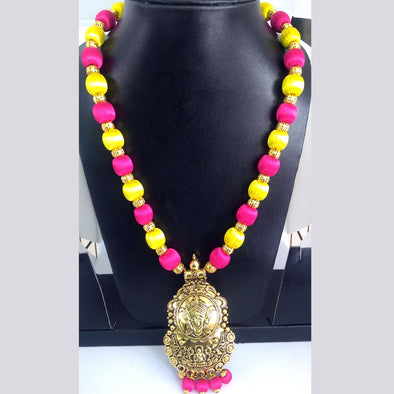 Antique Gold Necklace with Pink and Yellow Colored Silk Thread Beads