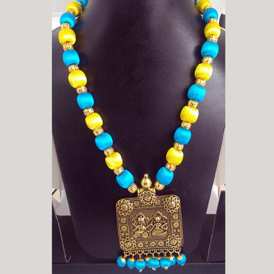Antique Gold Necklace with Blue and Yellow Colored Silk Thread Beads
