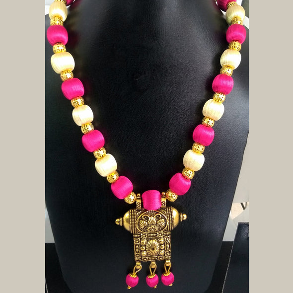 Antique Pendant Necklace with Pink Colored Silk Thread Beads