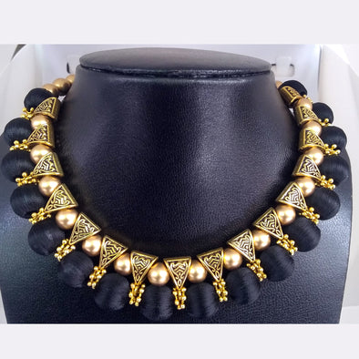 Antique Bail Choker Necklace Finished with Black Silk Thread