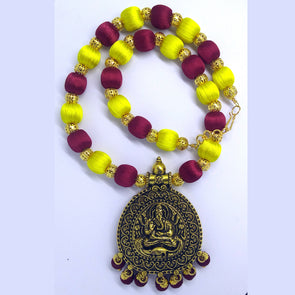 Antique Pendant Set finished with Silk Thread Beads