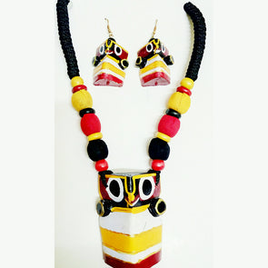 Lord Jagannath Necklace and Earrings Set