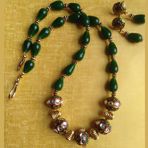 Meenakari Beads and Green Beads Necklace