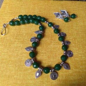 Green Cut Glass Beads Choker