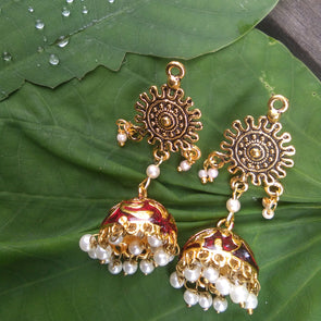 Red Meenakshi Traditional Jhumka