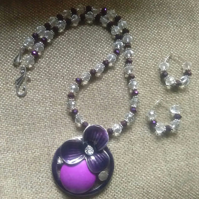 White and Purple Crystal Necklace Set