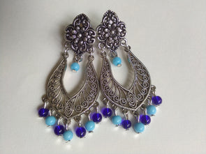 Blue Oxidized Earrings