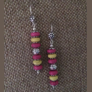 Pink and Yellow Torquise Earrings