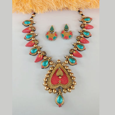 Terracotta Trendy Heart Jewellery Set