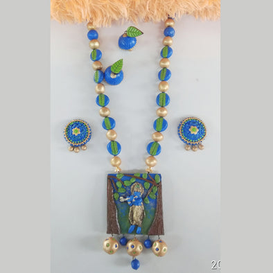 Terracotta Krishna Jewellery Set