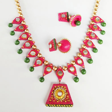 Terracotta Mirror Jewellery Set