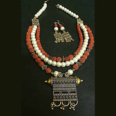 3 Layer Rudraksh Necklace