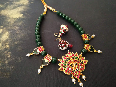Green And Red Kemp Necklace Set