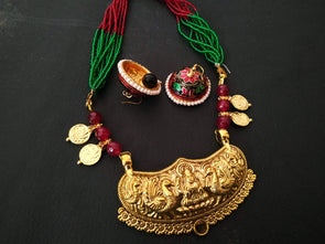 Red And Green Lakshmi Pendant Set