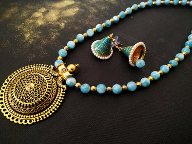 Blue Agate Beads Necklace Set