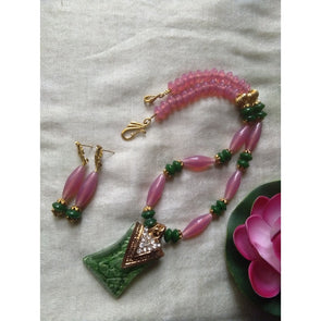Pink and green necklace set