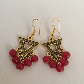 Antique Gold with Red Glass Beads