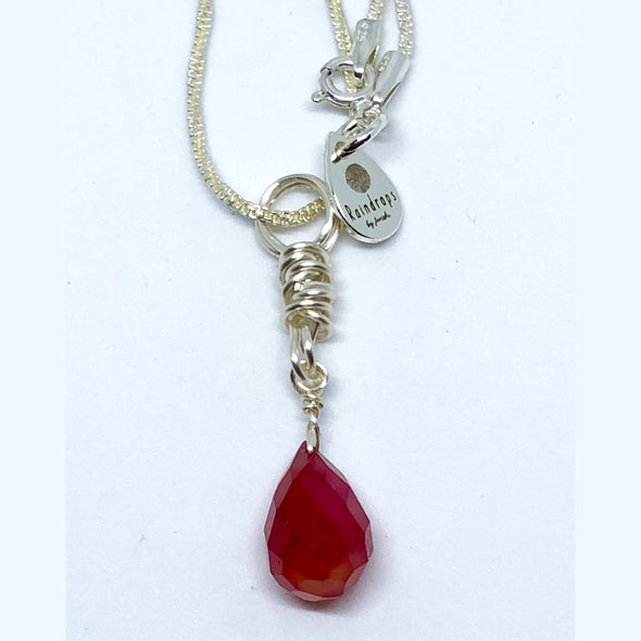Faceted Carnelian Briolette with Sterling Silver Chain