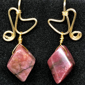 Rhomboid Rhodonite Drops
