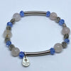 Bracelet Set with Milky Quartz and Blue Crystal