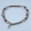 Bracelet Set with Milky Quartz and Pink Crystal