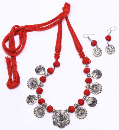 Handcrafted Red Tassel Statement Jewellery