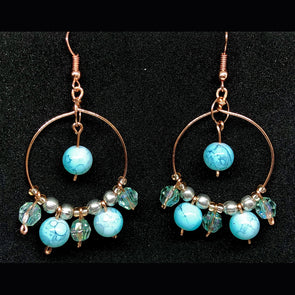 Copper Dangles with Light Blue Designer Glass and Crystal