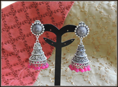 Designer Conical jhumka with Pink beads