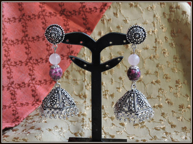 Rainflower stone oxidised jhumka