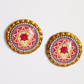 Red Lotus Mandala Studs