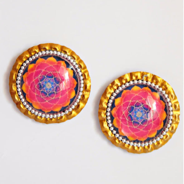 Multicoloured Lotus Mandala Studs