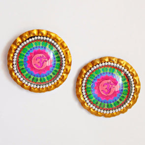 Multicoloured Om Studs