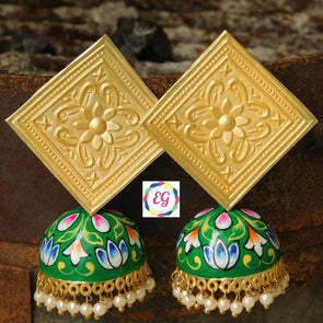 Golden Diamond Green Meenakari Jhumka