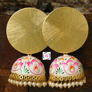 Golden Circle White Meenakari Jhumka