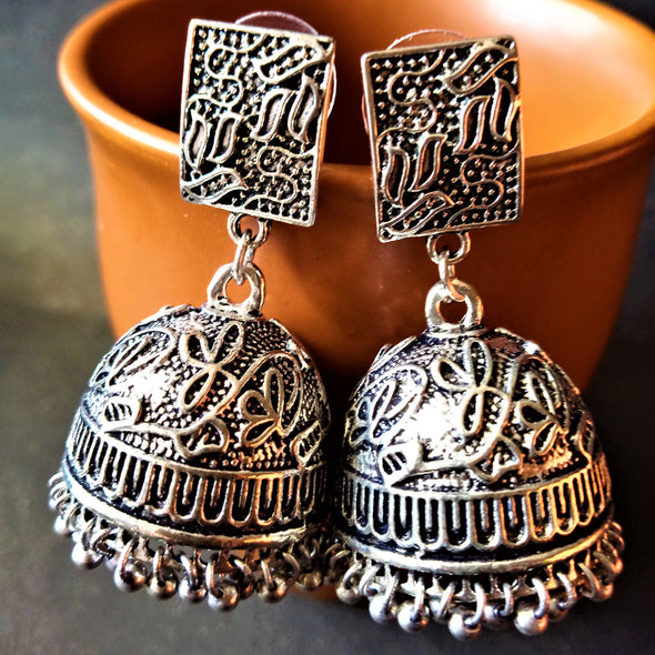 German Silver Creeper Jhumkas