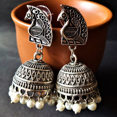 German Silver Peacock Jhumka