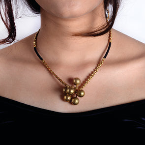 Dhokra Long Necklace with Ball Pendant