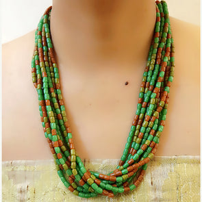 The Bead Story - Green Multi layer Necklace